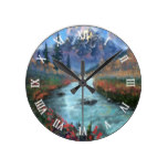 Serene Creek Autumn Watercolor Round Wallclocks