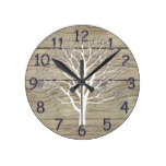 Weathered Driftwood with Tree Artwork Round Wallclocks