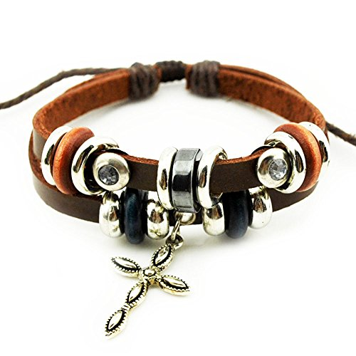 Real Spark Mens Womens Punk Style Fashion Cross Flower Pendant Leather Metal Beaded Wrap Bracelet