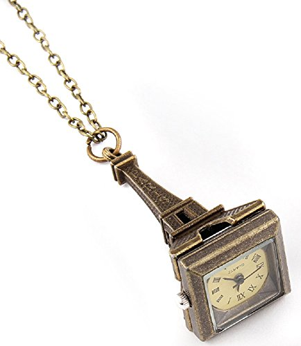 Fashion Jewelry Women's Novelty Paris France Clock Necklace (13682)