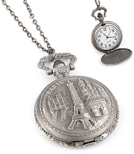 Fashion Jewelry Women's Novelty Paris France Clock Necklace (13681)