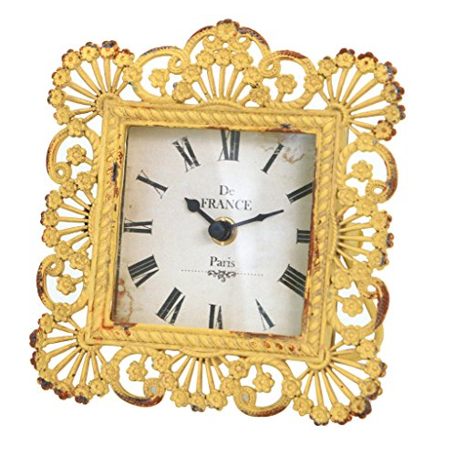 Vintage Peacock Feather Square Yellow Metal Table Clock,6 by 6.5-Inch