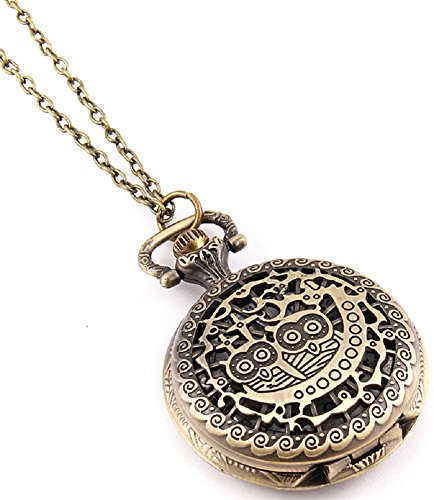 Fashion Jewelry Women's Novelty Pocket Watch Necklace (Owl)