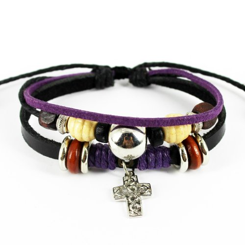 Real Spark Handmade Black Leather Wristband Metal Cross Pendant Wrap Bracelet