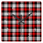 Cool Red White Black Lumberjack Tartan Pattern Square Wall Clocks