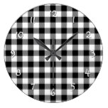 Cool White Black Lumberjack Tartan Squares Pattern Wall Clocks