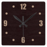 Mahogany Wood Square Wall Clock