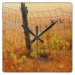 Rustic Country Landscape Wood Fence Post Fences Square Wallclocks