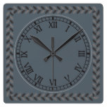 Rustic Leaf Pattern Roman Numeral DIY Background Square Wallclocks