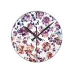 Rustic Marble Rose Pattern Round Wall Clocks