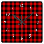 Traditional Red Black Buffalo Check Plaid Pattern Square Wall Clock