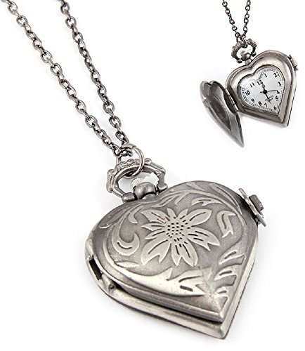 Fashion Jewelry Women's Novelty Heart Clock Necklace (14080)