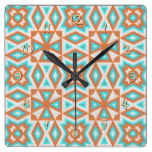 Green Orange Beige Native American Indian Pattern Square Wall Clock