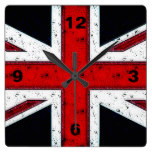 Rugged Union Jack Square Wall Clock