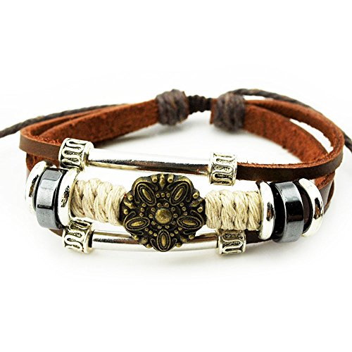 Real Spark Fashion Accessory Double Silvery Tube Alloy Loop Antique Flower Charm Brown Leather Wrap Bracelet
