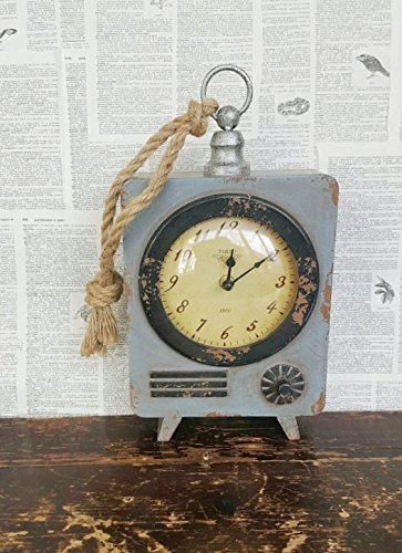 Vintage inspired wall clock, wood clock, large clock, vintage clock, mantel clock, hanging clock, gray clock, distressed clock, wooden clock