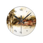 Ambiguous Abstract Landscape Art Drips Painting Round Clocks