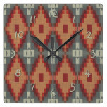 Brick Red Burnt Orange Gray Tribal Mosaic Pattern Square Wallclock