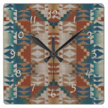 Burnt Orange Brown Teal Blue Tribal Mosaic Pattern Square Wallclock
