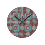 Coral Red Brown Turquoise Rustic Mosaic Pattern Round Wallclocks