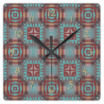 Coral Red Brown Turquoise Rustic Mosaic Pattern Square Wall Clock