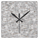 Faux White Gray Brown Woven Yarn Pattern Square Wall Clock