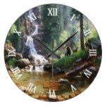 Forest Waterfall Bear Wildlife Watercolor Clocks