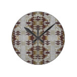 Khaki Beige Coffee Caramel Brown Mosaic Pattern Round Wall Clocks