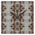 Khaki Beige Coffee Caramel Brown Mosaic Pattern Square Wall Clocks