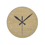 Khaki Coffee Brown Faux Burlap Texture Pattern Round Wall Clock