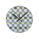 Pastel Blue Teal Yellow White Checkered Pattern Round Wallclocks