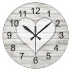 Rustic Beautiful Wood Texture Heart Wall Clock