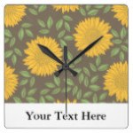 Sketch Sunflower Country Rustic Personalized Square Wall Clocks