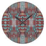 Turquoise Coral Red Brown Rustic Mosaic Pattern Wallclocks