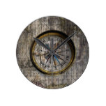 Vintage Compass Wood Round Wall Clock