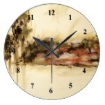 Ambiguous Abstract Landscape Art Drips Painting Large Clock
