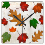 Autumn Leaves Falling Rustic Seasonal Square Wallclock