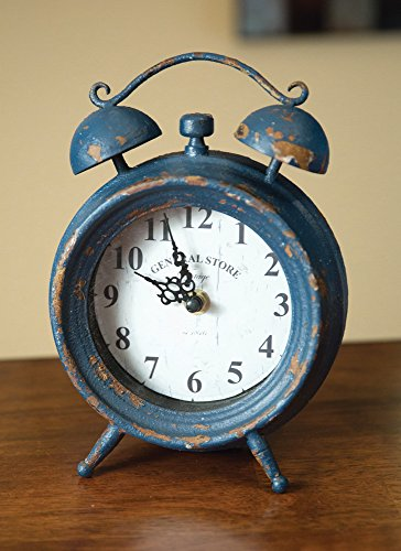 Manual Navy Distressed Metal Mantel Clock Vintage General Store Double Bell Look, IMCLCN, 6.2×8.5″ – Blue