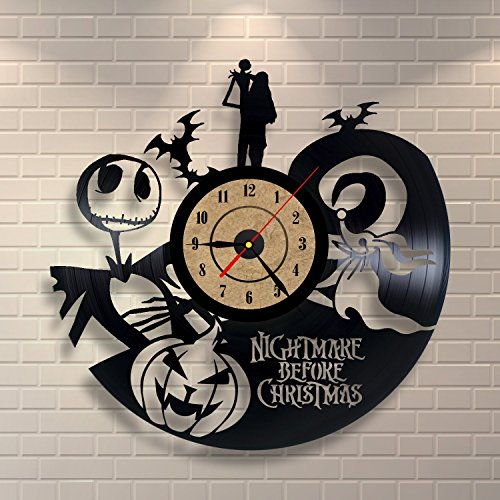 The Nightmare Before Christmas Love Story Wall Clock – Decorate your home with Modern Large Jack and Sally Disney Art – Best gift for Him and Her – Win a prize for feedback