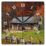 Old Kentucky Country Cabin Fall Season Square Wall Clocks