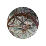 Rusty Wheels Round Wallclock