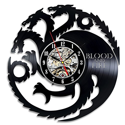 Blood and Fire Game of Thrones Gift Wall Clock Vinyl Record Art Decor Vintage