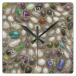 Colorful Faux Shiny 3D River Rock Stones Pattern Square Wall Clock