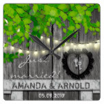 Just Married Wedding Announcement Wall Clock