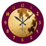 Monogram Modern Chic Long Horn Cowhide Fur Prints Large Clock