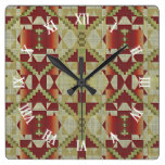 Ochre Brown Red Olive Green Tribal Mosaic Pattern Square Wall Clock