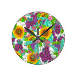 Sunflowers colorful watercolor floral illustration round clock