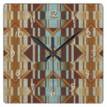 Turquoise Orange Native American Indian Pattern Square Wall Clock