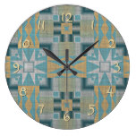 Turquoise Yellow Native American Indian Pattern Large Clock