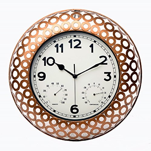 Maytime Indoor/Outdoor Decorative Metal netted Round Frame Wall Clock with Thermometer and Humidity 15 Inch(Bronze)